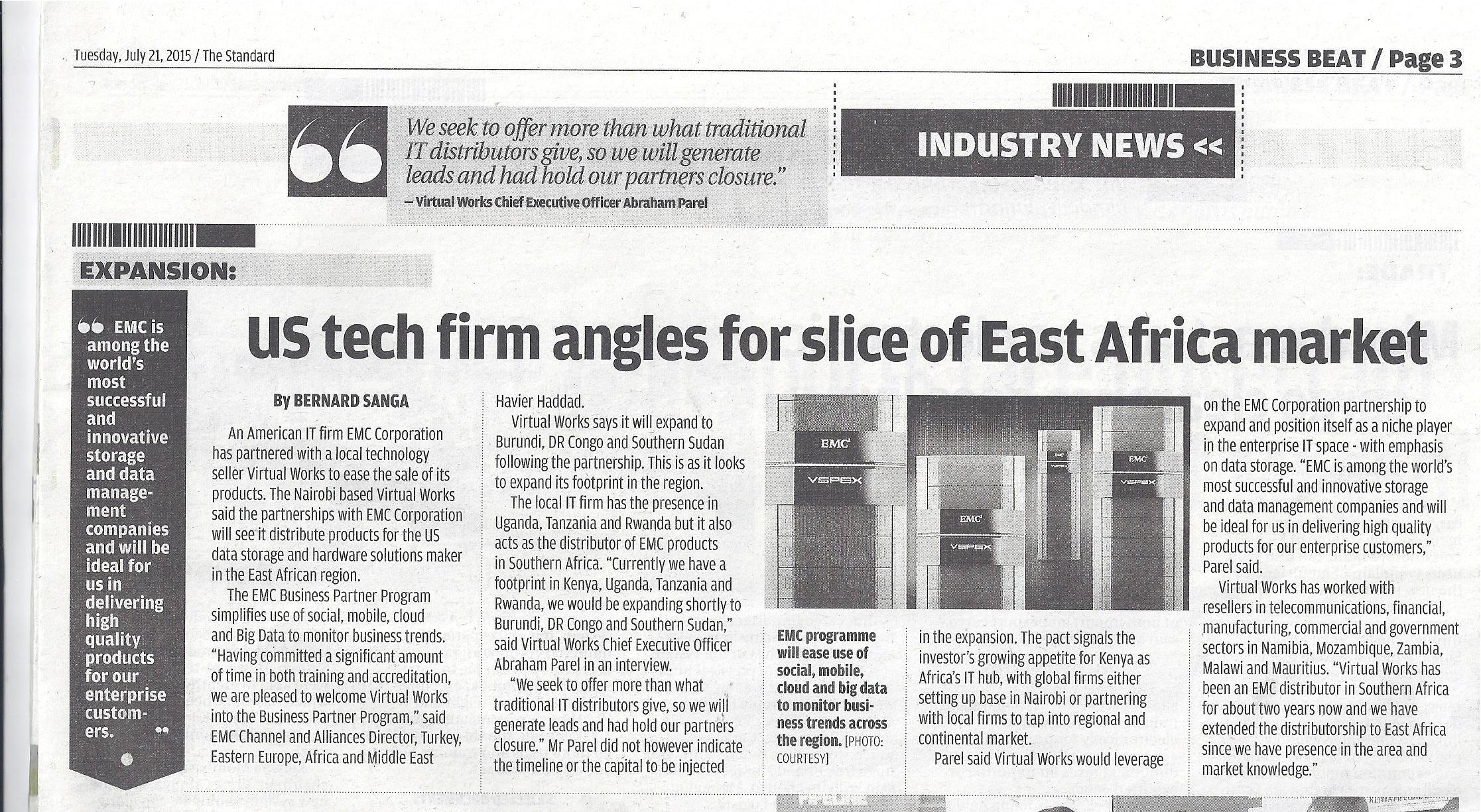 Virtual Works launches EMC into East Africa